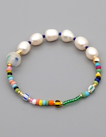 Fashion Green Colorful Rice Bead Pearl Beaded Bracelet