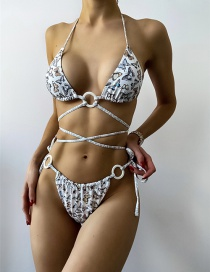 Fashion White Lace-up Butterfly Print Split Swimsuit