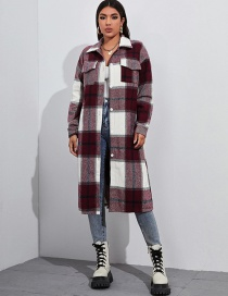 Fashion Red Long Sleeve Lapel Single-breasted Plaid Jacket