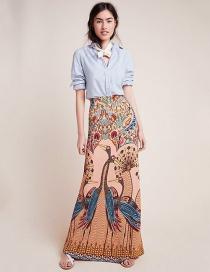 Fashion Peacock Peacock Open-screen Print Bag Hip Skirt