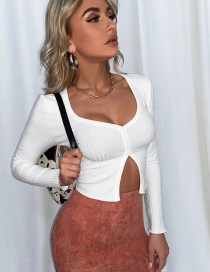 Fashion Off White Short Sleeve Cropped Cardigan Lace-up Knitted T-shirt