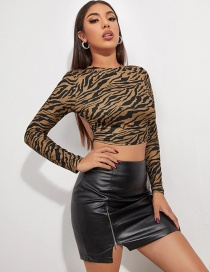 Fashion Black Stripes On Brown Printed Short Open Back Lace Long Sleeve T-shirt