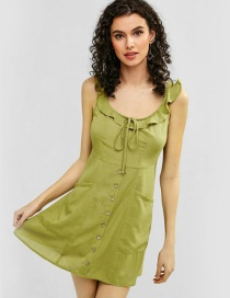 Fashion Green Strap Button Lace Ruffle Dress