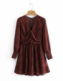 Fashion Red Chiffon Spotted Print Belt Lining V-neck Waist Long-sleeved Dress