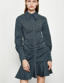 Fashion Grey Blue Lapel Pleated Plaid Long-sleeved Stitching Dress