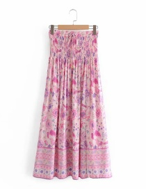 Fashion Pink Printed Elastic Waist Skirt With Front Slit