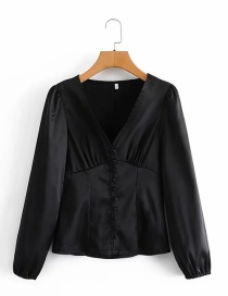 Fashion Black V-neck Buttoned Satin Top