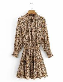 Fashion Color Leopard Print Ruffled Elastic Waist Dress