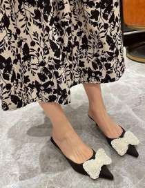 Fashion Black Pointed Pearl Bow Baotou Half Slippers