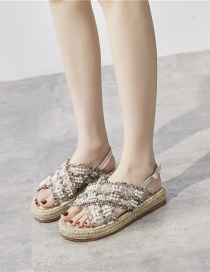 Fashion Pink Thick-soled Straw Woven Rope Pearl Cross Strap Fisherman Shoes