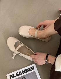 Fashion Off-white Flat Shoes With Shallow Mouth Belt Buckle Round Toe