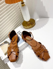 Fashion Brown Hollow Woven Round Toe Buckle Flat Shoes