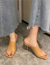 Fashion Apricot Square Toe High Heel Fish Mouth Slippers