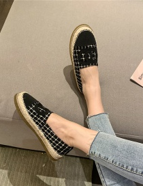 Fashion Black Contrasting Color Round Toe Flat-footed Fisherman Shoes