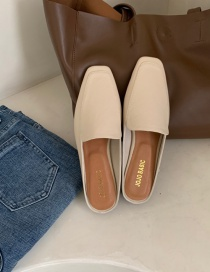 Fashion Off-white Square-toe One-foot Flat-bottomed Half Slippers