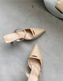 Fashion Apricot Pointed High-heeled Toe Strap Sandals