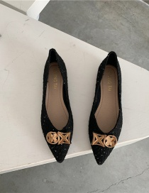 Fashion Black Shallow Mouth Pointed Toe Flat Metal Buckle Woven Shoes