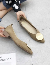 Fashion Dark Brown Shallow Toe And Thick Heel Soft Leather Shoes