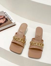 Fashion Apricot Mid-heel Chain Open Toe Sandals