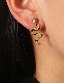 Fashion Gold Color Curved Alloy Dripping Snake Earrings