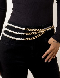 Fashion Gold Color Asymmetric Chain Imitation Pearl Waist Chain