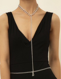 Fashion Silver Color Geometric Long Hollow Waist Chain
