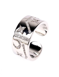 Fashion White Gold Ring Micro Diamond Constellation Ring Square Brand Ring