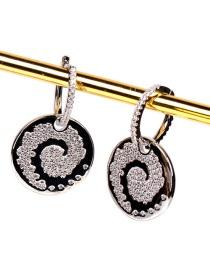 Fashion White Gold Earrings Xiangyun Micro Diamond Earrings