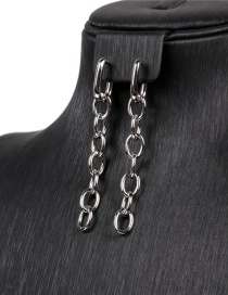 Fashion White Gold Earrings Thick Chain White Gold Earrings