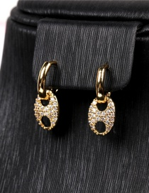 Fashion Earring Pig Nose Thick Chain And Micro Diamond Earrings