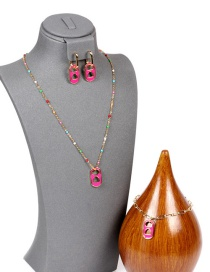 Fashion A-suit Dripping Love Pig Nose Bracelet Earrings Necklace Set