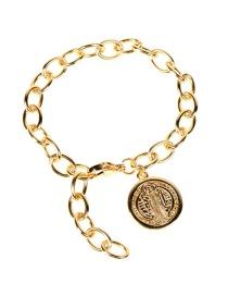 Fashion Bracelet-e Thick Chain Diamond Round Medal Bracelet