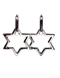 Fashion White Gold Earrings Hollow Star Pendant Thick Chain Earrings