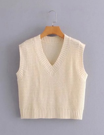 Fashion Beige Solid Color V-neck Knitted Vest
