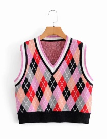 Fashion Pink V-neck Contrast Color Loose Check Knitted Vest
