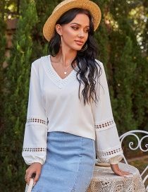 Fashion Off White Solid Color Puff Sleeve V-neck Long Sleeve T-shirt