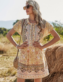 Fashion Yellow Printed Floral Lace Dress