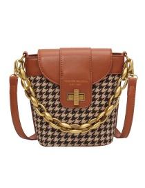Fashion Brown Houndstooth Textured Crossbody Shoulder Bag