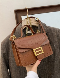 Fashion Brown Textured Stone Grain Crossbody Chain Shoulder Bag