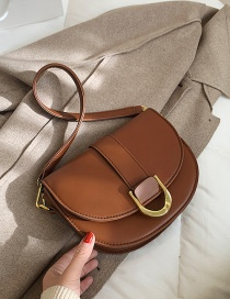 Fashion Brown One-shoulder And Underarm Texture Crossbody Saddle Bag