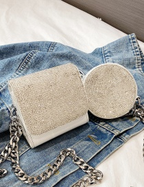 Fashion White Crossbody Mini Coin Purse With Diamond Chain