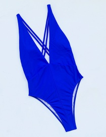 Fashion Blue Striped Solid Color Tie One-piece Swimsuit