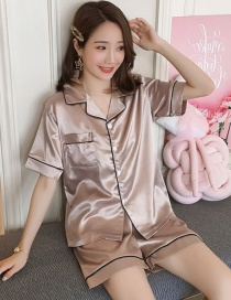 Fashion Apricot Ice Silk Pajamas Thin Two-piece Suit