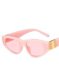 Fashion Brown Frame + Gray Lens Resin Geometric Sunglasses