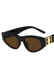 Fashion Bright Black Tea Small Frame Cat Eye Sunglasses