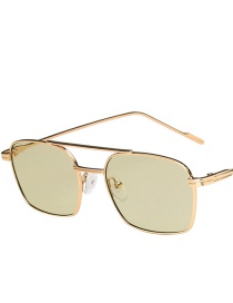 Fashion Gold Frame Light Green Metal Small Frame Double Beam Uv Protection Sunglasses