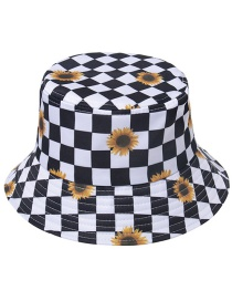Fashion Daisy Black And White Grid Black And White Checkered Color Feather Double-sided Fisherman Hat