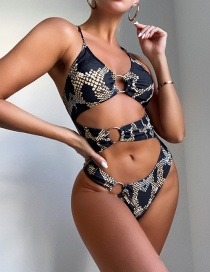 Fashion Black Printed Steel Ring One-piece Swimsuit