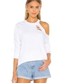 Fashion White White Off-the-shoulder Ripped Round Neck T-shirt
