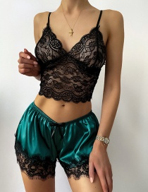 Fashion Dark Green Perspective Lace Sling Three-point Sexy Suit